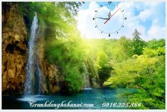 Tranh đồng hồ thác nước thiên nhiên tươi xanh