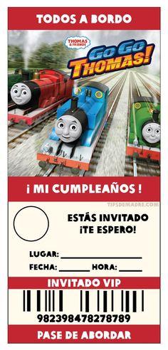 Thomas and Friends --- Las invitaciones, así como en mis otros posts, aquí te diseñé las recomendaciones, no encontré invitaciones en español para fiestas, así que las hice yo, ya están en tamaño para imprimir, solo te faltaría poner los detalles de la fiesta y/o foto de tu peque (DA CLICK EN LA IMAGEN PARA VERLA EN GRANDE): invitacion-fiesta-thomas