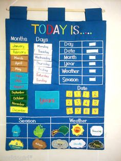 Educational Today Is Day Date and Weather Chart Fabric Including Seasons | eBay