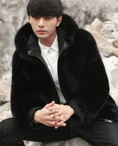 Men's Fox fur coat, crafted of premium Fox fur. Ultra soft and thick fur. Dyed to Black color. Long sleeves with straight cut bottom hem. Mens Fur, Fox Fur Coat, Men's Coats And Jackets, Good Looking Men, Furs, Black Men, Hoods, How To Look Better, Winter Hats