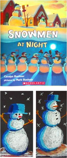Snowmen at Night - Elementary Art Lesson for Kids