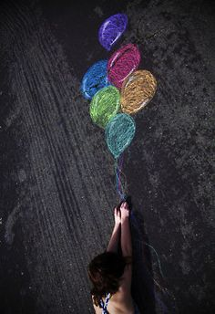 Great idea! Use sidewalk chalk to create cool photo backgrounds.