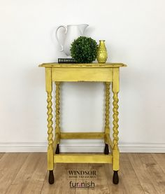 Vintage Hand Painted Yellow Side Table