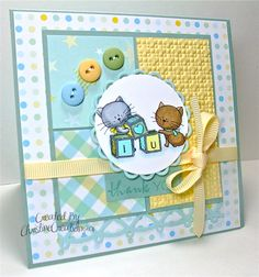 I have Day Two of Baby Week for you today with a soft and sweet card designed especially for my brother and sister-in-law. They are cat lov...