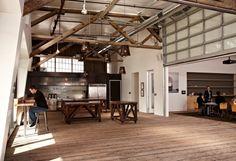 IDEOs San Francisco Headquarters - huge garage door to divide one big room