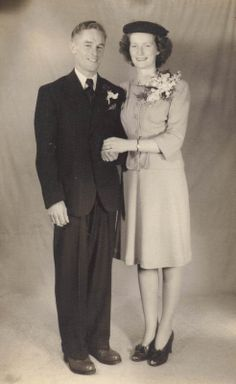 """She is dressed in a kind of suit that women wore when they eloped. 1930s Wedding, Vintage Wedding Photos, Vintage Photos, Vintage Weddings, Romantic Couples, Wedding Couples, Wedding Day, 1940s Tea Dress, Corsage"