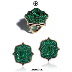 The Monochrome Collection... The Lotus Earrings and Ring in natural emeralds.