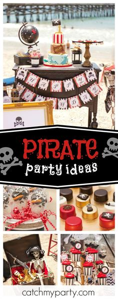 Check out this awesome Pirate party on the beach. The birthday cake is so cool!! See more party ideas and share yours at CatchMyParty.com