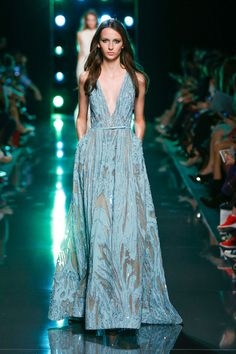 Blue gown with sheer details, Elie Saab at Paris Spring 2015