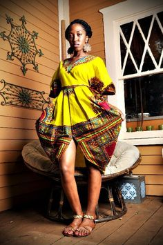 OOAK Yellow Dashiki Chic Tribal Scalloped by AfricanStreetCouture, $135.00