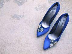 Monaco Blue heels with rhinestones - love these!
