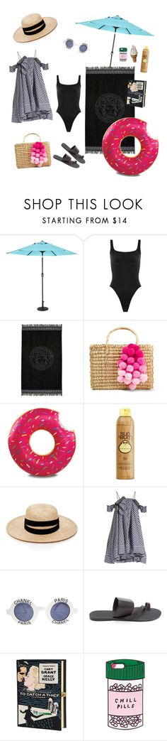 """Fun day"" by sofiakub ❤ liked on Polyvore featuring Outdoor Oasis, Norma Kamali, Versace, Nannacay, Sun Bum, Janessa Leone, MSGM, Chanel, Olympia Le-Tan and ban.do"
