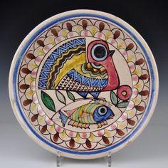 A Large Italian Art Pottery Vietri Plate With Fish & Bird Studemann Dolker