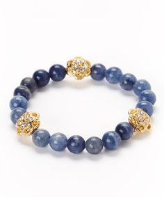 Lapis & Gold Accent Stretch Bracelet