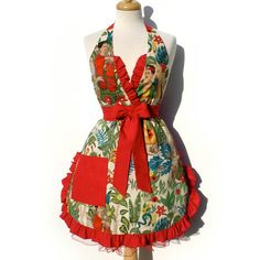 Apron Frida Kahlo Vintage Inspired Mexican Apron FREE SHIPPING