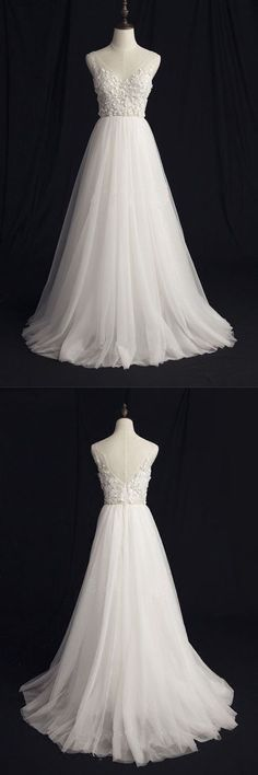 V-Neck Wedding Dresses, Beautiful Wedding Dresses, V-neck Wedding Dresses, A-Line Wedding Dresses, Ivory Wedding Dresses Wedding Dresses 2018 Simple Prom Dress, Elegant Prom Dresses, Wedding Dresses 2018, Elegant Wedding Dress, Cheap Prom Dresses, Cheap Wedding Dress, Beautiful Dresses, Ivory Wedding, Bridal Dresses