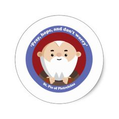 Shop St Pio of Pietrelcina Classic Round Sticker created by happysaints. St Pio Of Pietrelcina, Mary And Martha, Children's Bible, Catholic Saints, Round Stickers, First Love, Fonts, Age, Classic