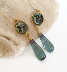Abalone Earrings, Rainbow Fluorite Stone