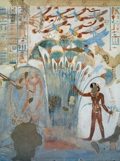Egypt, Thebes, Luxor, Sheikh 'Abd al-Qurna, Tomb of scribe of recruits Horemheb, mural paintings of papyrus plants and birds from eighteenth dynasty