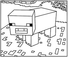 Printable Minecraft Pigs coloring pages.