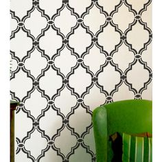 Wall Stencil Moroccan Allover Pattern Wall Room Decor Made by Omg... ($30) ❤ liked on Polyvore featuring home, home decor, home & living, home décor and silver