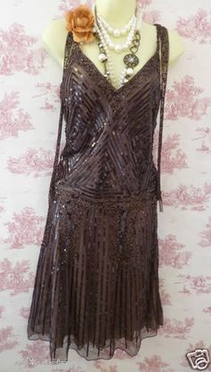 Marcelane Gatsby 20's Flapper Vintage Style Bead Sequin Brown Bronze Dress 12 | eBay