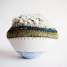 Weaving & Ceramic Woven sculpture by Philippa A Taylor Raffia, paper, silk with porcelain. Pottery Bowls, Ceramic Pottery, Pottery Art, Ceramic Art, Slab Pottery, Ceramic Bowls, Contemporary Baskets, Willow Weaving, Found Object Art