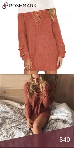 """🆕 Lace up pullover Super cute lace up pullover sweater. Loose fit. New in package   ✨Bust : 40"""" ✨Length: 27"""" Boutique Sweaters Crew & Scoop Necks"""