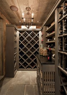 Philip Gorrivan Design - basements - basement wine rooms, wine room, wine cellar, basement wine cellar, rustic plank ceiling plank ceiling, ...