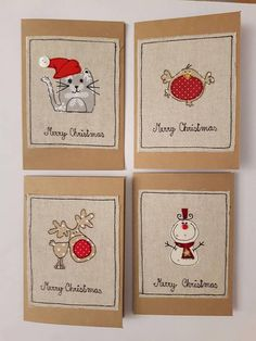Pack of 4 Fabric Christmas greeting cards with Cat, Snowman, Reindeer and Robin applique. I have used red button for snowmans nose and white button for cats hat. I have created these design using free machine embroidery and cut out pieces of fabric and attached it on brown paper cards. The cards have fabric applique on the front but are left blank for your own message inside. These cards measures 6x4.25 or 15.5x10.7cm - a standard C6 size Supplied with a matching envelope and in cellophane…
