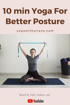 This 10 min yoga is designed to stretch the shoulder and chest and strengthen upper back and core muscles Beginner Yoga Workout, Gym Workout For Beginners, Gym Workout Tips, Yoga Poses For Beginners, Pilates For Beginners, Body Workouts, Workout Videos, Como Praticar Yoga, Yoga Training