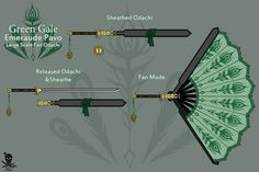 Green Gale - Emeraude Pavo by JollyJoseph on DeviantArt Ninja Weapons, Anime Weapons, Fantasy Weapons, Inspiration Drawing, Character Inspiration, Espada Anime, Dessin Animé Lolirock, Hidden Weapons, Rwby Oc