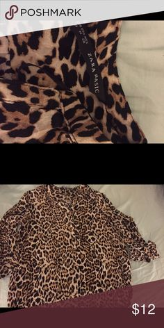 Zara Leopard Blouse Zara Leopard Blouse: Zara Basic, size M; pocket on the top left of chest; partial button down; soft material; 100% viscose.  Will be mailed ironed and clean.  Used once. $12 Zara Tops Blouses