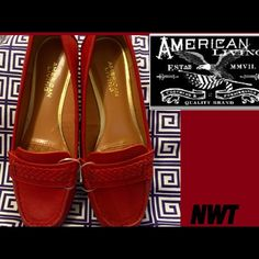 """Price Drop•American Living• Style: Ulyssa• Casual exclusively sold at Macy's only• Color: Red• Manmade faux upper• round closed-toe Mocs with cushioned footbed• 1"""" heel• Manmade Sole• Keep things casual & stylish with American Living Mocs Casual Flats.                    P.S. Please remember when *Making An OFFER✔️I have a 20% commission to pay Poshmark. American Living™ Shoes Flats & Loafers"""