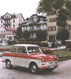 An original advertising photo of a Trabant P60  1963