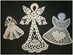 handmade crocheted christmas stockings and christmas ic… na Stylowi. Crochet Angel Pattern, Crochet Angels, Crochet Cross, Filet Crochet, Hand Crochet, Christmas Crochet Patterns, Crochet Snowflakes, Crochet Doilies, Christmas Angel Ornaments