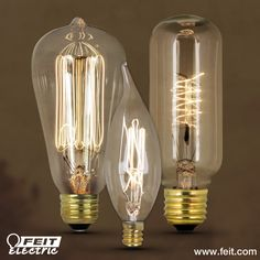 Feit Electric Vintage Style Light Bulbs  - Edison Style  - Hand-Strung Tungsten Filament