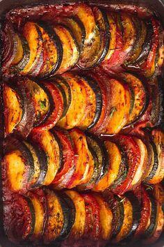 Briam (Greek Vegetable Bake) - Little Sunny Kitchen Greek Vegetables, Baked Vegetables, Veggies, Vegetarian Greek Recipes, Veggie Recipes, Vegetarian Cooking, Vegetable Stew, Vegetable Side Dishes, Vegetable Bake