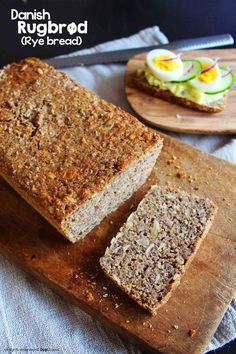Danish rugbrød (rye bread) is a dark rectangular loaf of bread, and is denser than the normal rye bread you will find in most stores. Filled with grains and dietary fiber, it is low in fat and contains no oil or refined sugar, which makes this bread very healthy and filling.