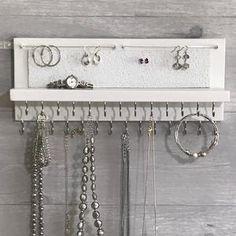 Gray Jewelry Organizer Necklace Holder Wall Mounted Rustic | Etsy Diy Jewelry Holder, Jewelry Organizer Wall, Jewelry Hanger, Jewellery Storage, Jewellery Display, Jewelry Organization, Jewelry Box, Shelf Organizer, Diy Necklace Holder