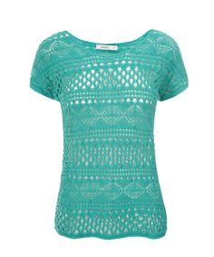 Short Sleeve Crochet Pullover, Aqua