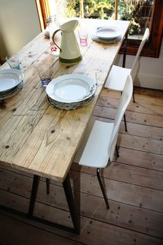 We're loving this chunky rustic-style kitchen table from those Salvation Furniture chaps! Find more at www.salvationfurniture.com