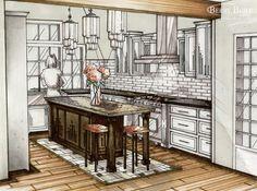 deco kitchen design sketch