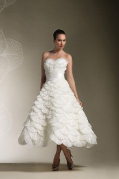 2013 Wedding Dresses 2012 Wedding Dresses A-Line Sweetheart Tea-length Organza