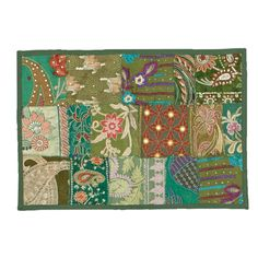 Timbuktu Hand Crafted Green Cotton and Poly Recyled Sari Placemats (Set of 4)