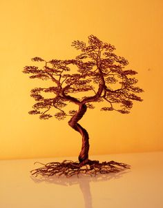 Wire tree with leaves made from copper (25000.00 HUF) by Wiretrees1