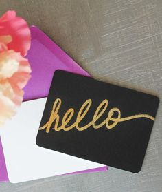 Midas Embossed Notecards | Add some glam to your wedding correspondence with these DIY notecards.