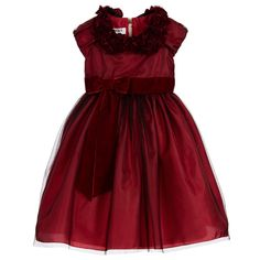 Girls beautiful burgundy red dress by Graci. Made with layers of tulle over a satin skirt and bodice, the overlay is a fine layer of black tulle with red glitter. The bodice is fitted with capped sleeves and there is a red velvet bow sash at the waist. The removable collar is made of velvet rose appliqué with fur pom-poms. The dress does up at the back with a zip and has a cotton blend underskirt with tulle petticoat for fullness.  Model: Height 112cm (average 5 year)  Size of dress shown in…
