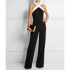 cc56fba1fa Women s Holiday Simple Color Block Halter Jumpsuits