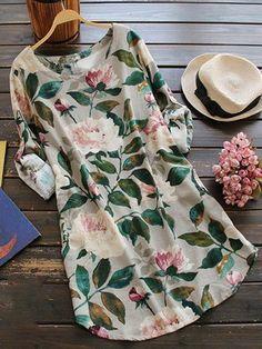 Floral Long Sleeve Linen Blouse Dress - Floral One Size Linen Blouse, Blouse Dress, Plaid Dress, Linen Shirts, Dress Outfits, Casual Dresses, Cute Outfits, Ladies Dresses, Floral Dresses